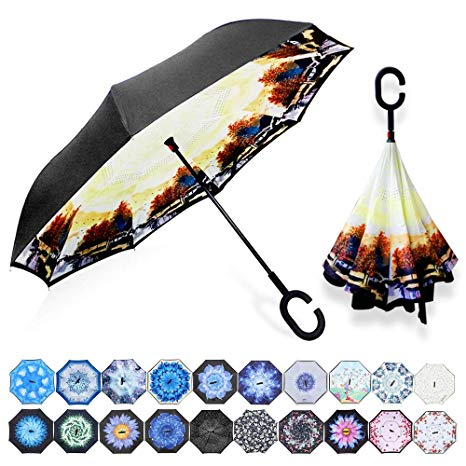 Paraguas de Doble Capa Invertido Plegable Reversible